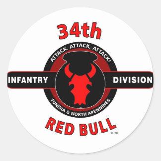 """trente-quatrième DIVISION d'INFANTERIE"""" RED BULL """" Adhésif Rond"""
