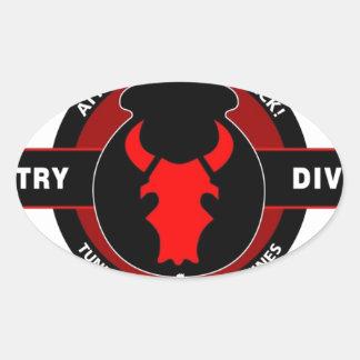 """trente-quatrième DIVISION d'INFANTERIE"""" RED BULL """" Sticker Ovale"""