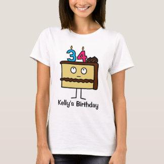 trente-quatrième Gâteau d'anniversaire avec des T-shirt
