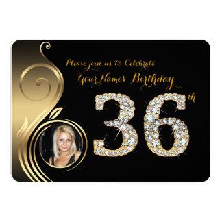 trente-sixième, invitation d'anniversaire, diamant