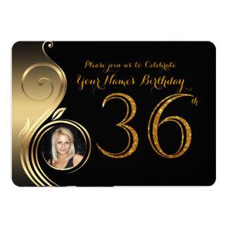 trente-sixième, invitation d'anniversaire, or de
