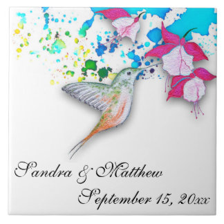 Trépied de mariage de colibri et de carreau