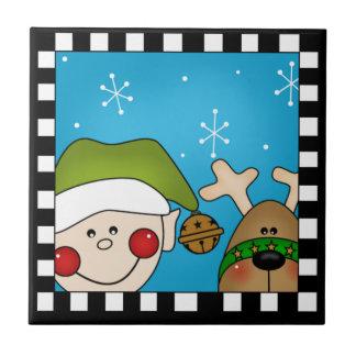 Trépied de tuile d Elf de Noël Carreau En Céramique