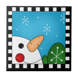 Trépied de tuile de bonhomme de neige petit carreau carré