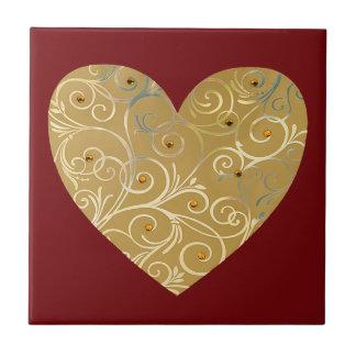 Trépied de tuile de coeur d or carreau en céramique