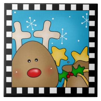 Trépied de tuile de renne de Noël grand Carreau