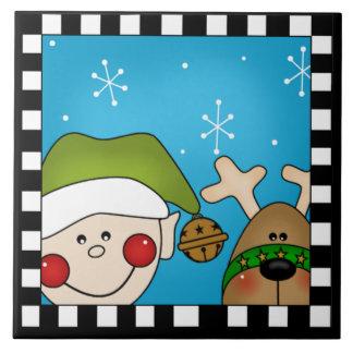 Trépied de tuile d'Elf de Noël grand Carreaux En Céramique