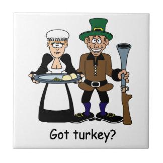 Trépied drôle de tuile de thanksgiving carreaux