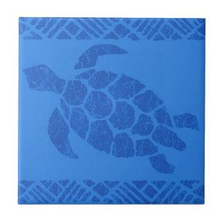 Trépieds polynésiens de tuile de tortue de Tapa Petit Carreau Carré