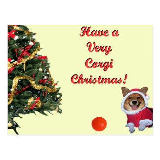 Très carte postale de jaune de Noël-Pitié de corgi