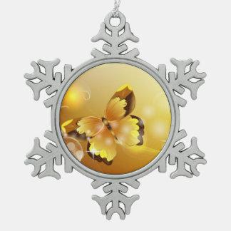 Très jaune, papillon et bulles ornement flocon de neige pewter