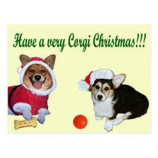 Très Noël M de corgi et carte postale jaune de G