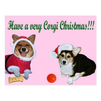 Très Noël M de corgi et carte postale rose de G