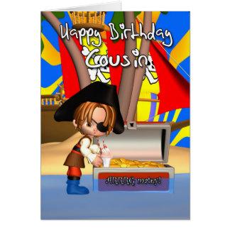 Trésor de pirate de carte d'anniversaire de cousin