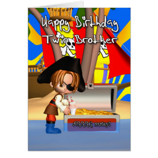 Trésor de pirate de carte d'anniversaire de frère