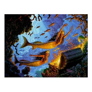 Trésor de sirènes d'or carte postale