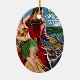 Trésor d'étoile ornement ovale en céramique