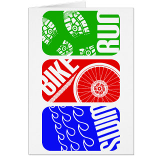 TRI blocs de couleur de triathlon Carte De Vœux