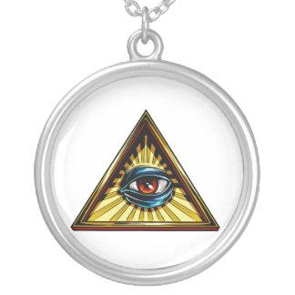 Triangle avec l'oeil d'oeil de Providence Pendentif Rond