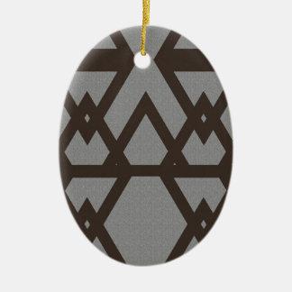 Triangle et motif gris de diamant ornement ovale en céramique