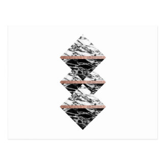 Triangles de marbre noires et blanches et or rose carte postale