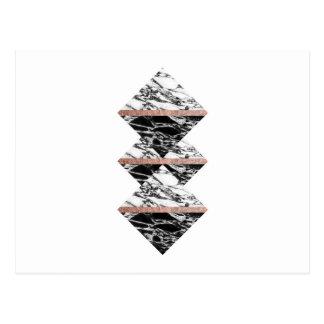 Triangles de marbre noires et blanches et or rose cartes postales