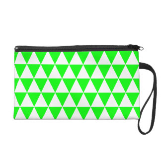 Triangles géométriques de blanc et de vert de pochettes avec dragonne