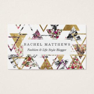 Triangles géométriques de marbre floral chic d'or cartes de visite
