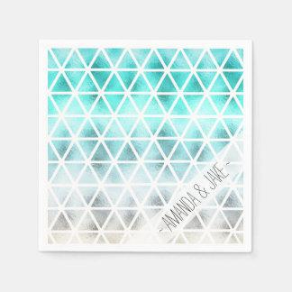 Triangles géométriques d'ombre bleu turquoise serviette jetable