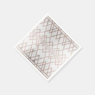 Triangles géométriques d'or rose moderne chic de serviettes jetables
