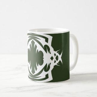 Tribal 16 white over green mug