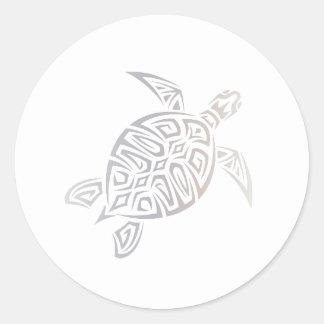 Tribal animal blanc beige de tortue de mer sticker rond
