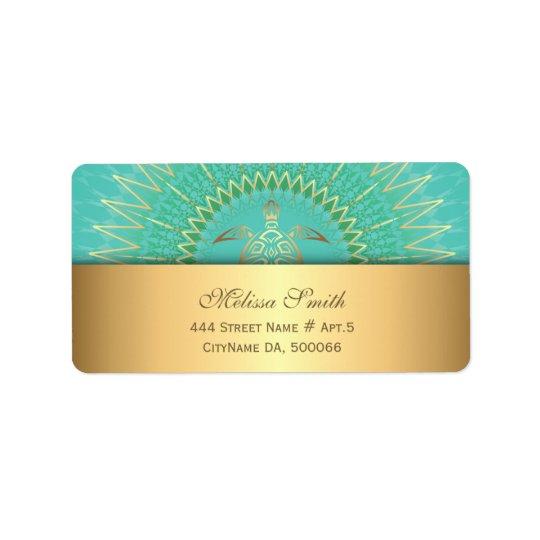Tribal d'animal de tortue d'or de turquoise étiquette d'adresse