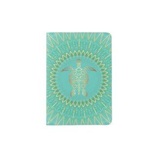 Tribal d'animal de tortue d'or de turquoise protège-passeports