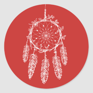 Tribal de rouge de receveur de rêve de Natif Sticker Rond