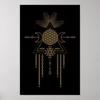Tribal éléments mandala de lune de la géométrie de posters
