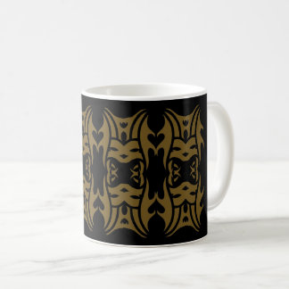 Tribal mug 11 gold over black