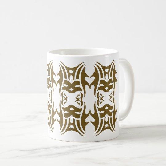 Tribal mug 11 gold over white