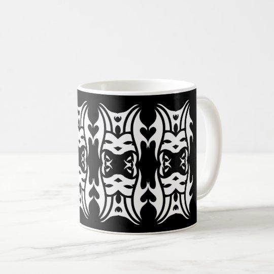 Tribal mug 11 white over black