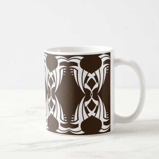 Tribal mug 12 white over brown