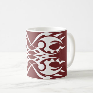Tribal mug 18 white over réseau