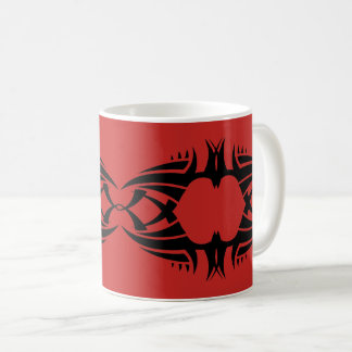 Tribal mug crow black over réseau