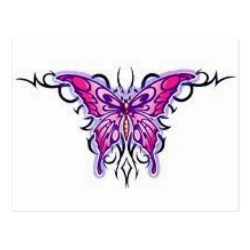 Tribal pourpre magnifique de papillon carte postale zazzle - Tribal papillon ...