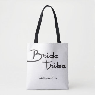 Tribu de jeune mariée, nom personnalisé, cadeau de tote bag