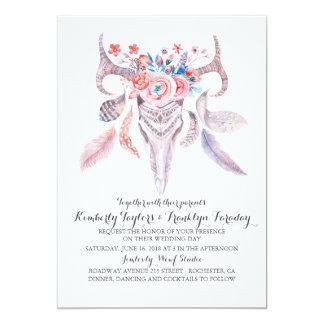 tribu florale de crâne de plumes de boho carton d'invitation  12,7 cm x 17,78 cm
