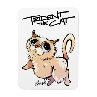 Trident l'aimant illustré par chat 01 magnet flexible