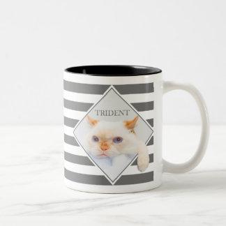 Trident le café rayé Mug_01 de chat Tasse 2 Couleurs