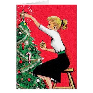 Trimmer d'arbre de Noël d'années '50 Cartes De Vœux