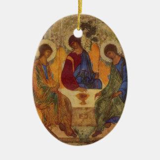 Trinité de Rublev au Tableau Ornement Ovale En Céramique