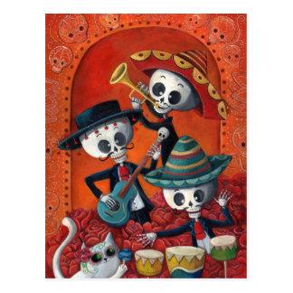 Trio de mariachi de Dia de Los Muertos Skeleton Cartes Postales